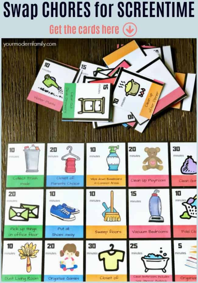 tâches ménagères pour cartes postales écran